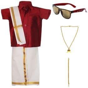 MS Trends Boy Art silk Solid Dhoti kurta - Maroon