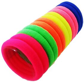 Multi Bright Colored Elastic Cotton Stretch Hair Ties Bands For Women/Girls - Set Of 30 Pcs (Assorted Color)