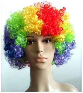 Multi color Malinga Wig Colored artificial hair wig for party holi celebration