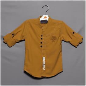 MUMKINS Boy Cotton Printed Shirt Yellow