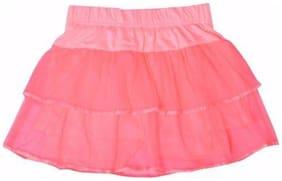 Mumma Mia Girl Cotton Solid Tiered skirt - Pink