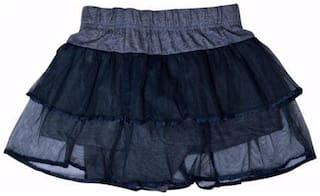 Mumma Mia Girl Cotton Solid Tiered skirt - Black