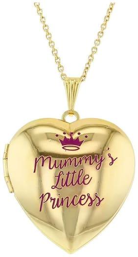 "Mummy's Little Princess Crown Photo Pendant Heart Locket Necklace for Girls 16"""