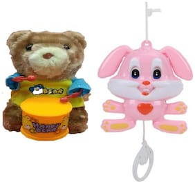 Musical Animal Pull String Toy with Windup Teddy Bear Drummer Sound Toy for Kids