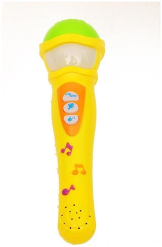 MUSICAL MIC WITH 5 MUSIC MELODY MICROPHONE TOY FOR KIDS - YELLOW (G&S TRADERS)