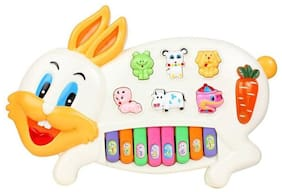 Musical Rabbit Piano With Flashing Light Toy Gift For Kids (Multicolor)