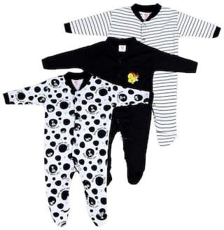 MY BABY TOWN Unisex Cotton Printed Romper - Black & White