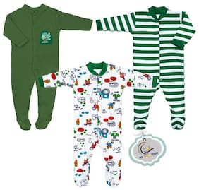 MY BABY TOWN Unisex Cotton Printed Romper - Green & White