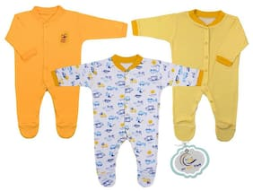 MY BABY TOWN Unisex Cotton Printed Romper - Yellow