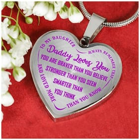 My Daughter Luxury Heart Pendant Custom - Daughter Necklace From Father Mother