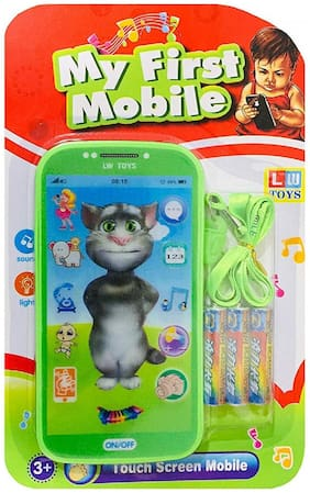 My First Touch Screen Mobile with Light and Sound Effect, A Neck Holder and A Tomy Cat Character Best Gift for Kids