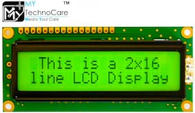 MY TechnoCare 16x2 1602 LCD Display Alphanumeric Module With Yellow/Green backlight JHD162A Compatible for Arduino UNO;Raspberry PI;8051;AVR;PIC Microcontroller