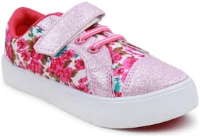 MYAU Boy's & Girl's Flower Printed Pink Shimmer Shiny Velcro Closure Casual Shoes Sneakers