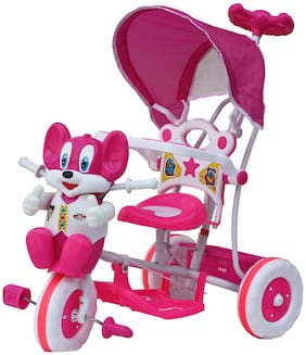 NAGAR INTERNATIONAL BABY TRICYLE  WITH ROCKING MODE PINK 1722NZ 86*64*33 WITH SHADE AND PARENTRAL CONTROL AND ATTRACTIVE CARTOON FACE DESIGN AND MUSICAL