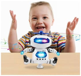 Naughty Dancing Robot with Flashing Ligths and Music (360 deg Rotate) for Kids