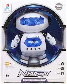 Naughty Dancing Robot with 3D Lights and Music Baby Toy (Multi Color)