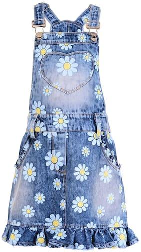 Naughty Ninos Girls Blue Floral Print Denim Pinafore Dress