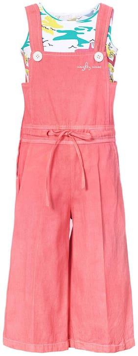 NAUGHTY NINOS Cotton Printed Dungaree For Girl - Pink