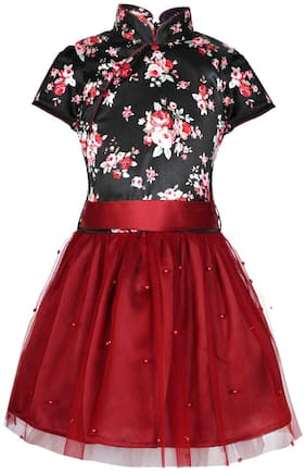 Naughty Ninos Polyester Printed Frock - Red