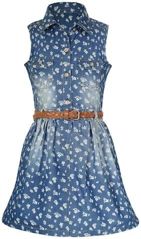 Naughty Ninos Blue Cotton Sleeveless Above Knee Princess Frock ( Pack of 1 )