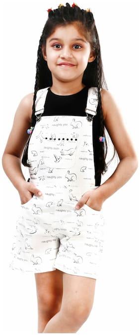 Naughty Ninos Cotton Printed Dungaree For Girl - White