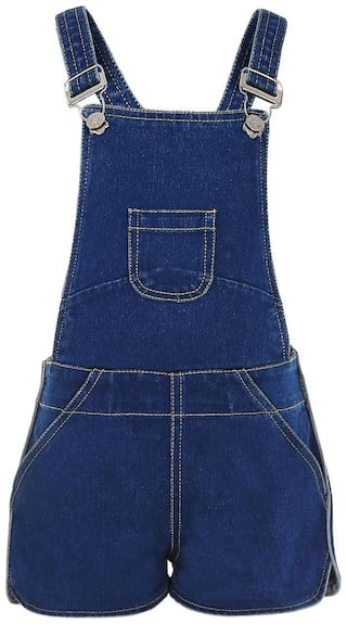 Naughty Ninos Cotton Solid Dungaree For Girl - Blue
