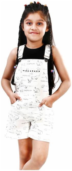 Naughty Ninos Cotton Printed Dungaree For Girl - White
