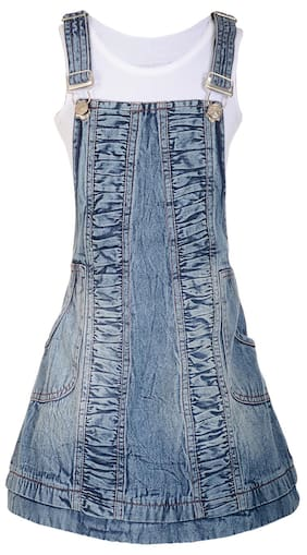 Naughty Ninos Girl Cotton Solid Frock - Blue