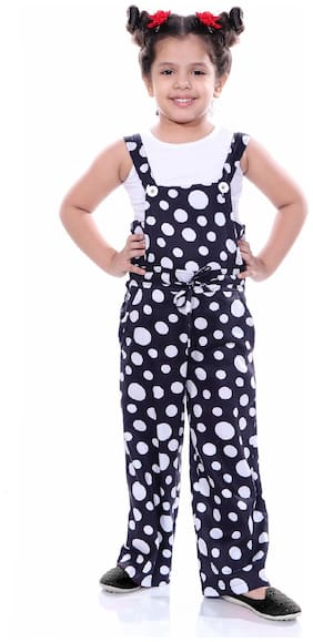 NAUGHTY NINOS Cotton Polka dots Dungaree For Girl - White & Blue