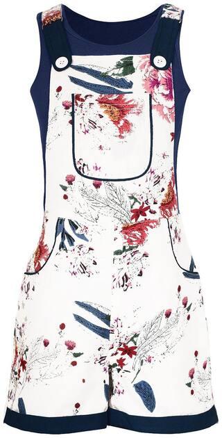 Naughty Ninos Rayon Printed Dungaree For Girl - White