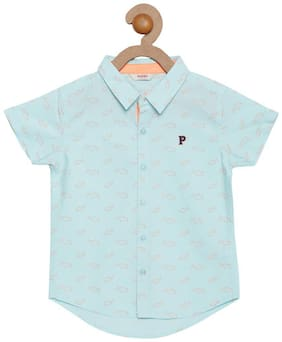 Boy Cotton Solid Shirt Blue