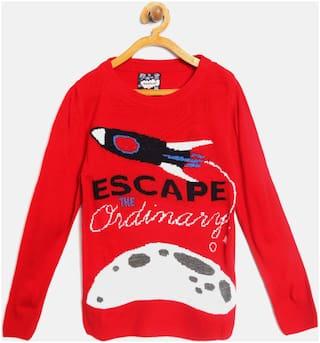 Nauti Nati Boy Acrylic Solid Sweater - Red
