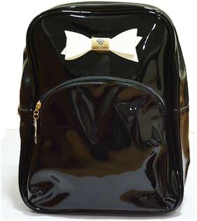 Navizone College Girls & School kids Picnic Glossy bag backpack - Black