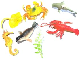 Nawani Water World 6 Pic Water Animal + Plants Ocean/Water/Marine Animals Figures Set for Kids(Multi Colour)