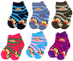 Neska Moda Premium 6 Pair Terry Cotton Kids Ankle Length Cozy Soft Socks Age Group 0 to 2 Years-Multicolor SK211