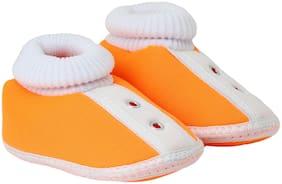 Neska Moda Orange Booties For Infants