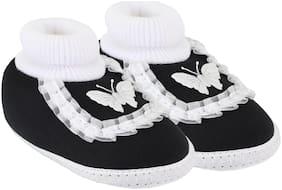 Neska Moda Black Booties For Infants