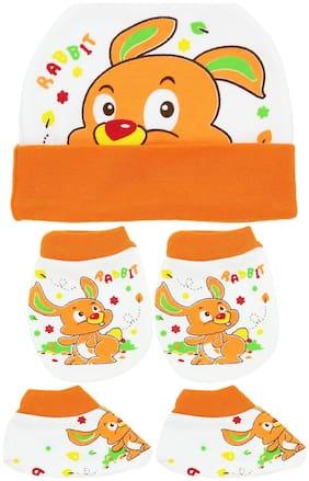 Neska Moda Baby Orange Mittens;Cap with Booties Set 3 pcs (0-6 Months)-MT67