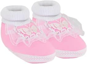 Neska Moda Pink Booties For Infants
