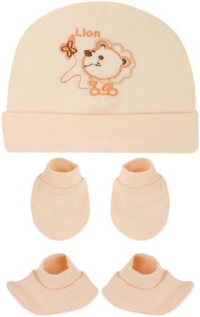 Neska Moda Baby Orange Mittens;Booties with Cap Set 3 pcs Combo 0 To 6 Months MT114