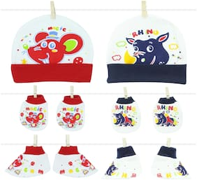 Neska Moda Baby Red And Navy Mittens;Cap with Booties Set 6 Pcs (0-6 Months)