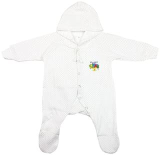 Neska Moda Baby boy Cotton Polka dots Romper - White