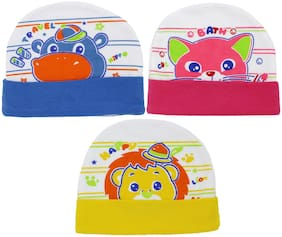 Neska Moda Baby Boys And Girls Multicolor Cap For 0 To 18 Month Pack Of 3 MT51