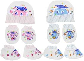 Neska Moda Baby Mittens;Booties with Cap Set 6 pcs (0-6 Months)