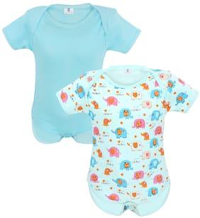 Neska Moda Unisex Cotton Solid Body suit - Blue