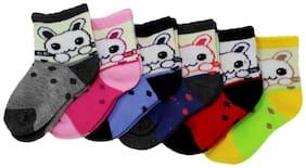 Neska Moda Premium Cotton Ankle Length Multicolor Kids 6 Pair Socks For 1 To 2 Years