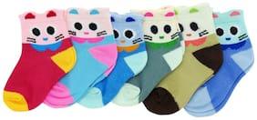 Neska Moda Premium Cotton Ankle Length Multicolor Kids 6 Pair Socks For 0-1 Years SK296
