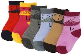 Neska Moda Premium Cotton Ankle Length Multicolor Kids 6 Pair Socks For 6 To 12 Months-SK363