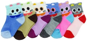 Neska Moda Premium Cotton Ankle Length Multicolor Kids 6 Pair Socks For 0-1 Years SK295