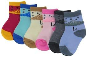 Neska Moda Premium Cotton Ankle Length Multicolor Kids 6 Pair Socks For 6 To 12 Months-SK364